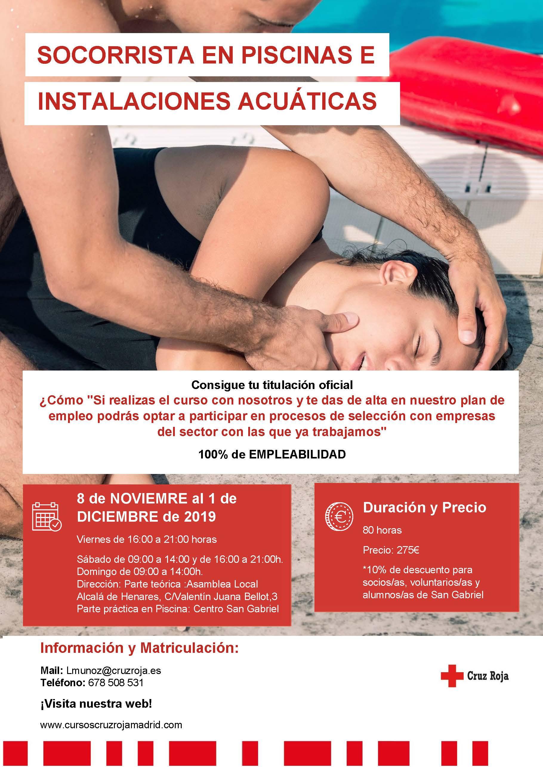 Curso de Socorrista en piscinas e instalaciones acuáticas - Noviembre 2019