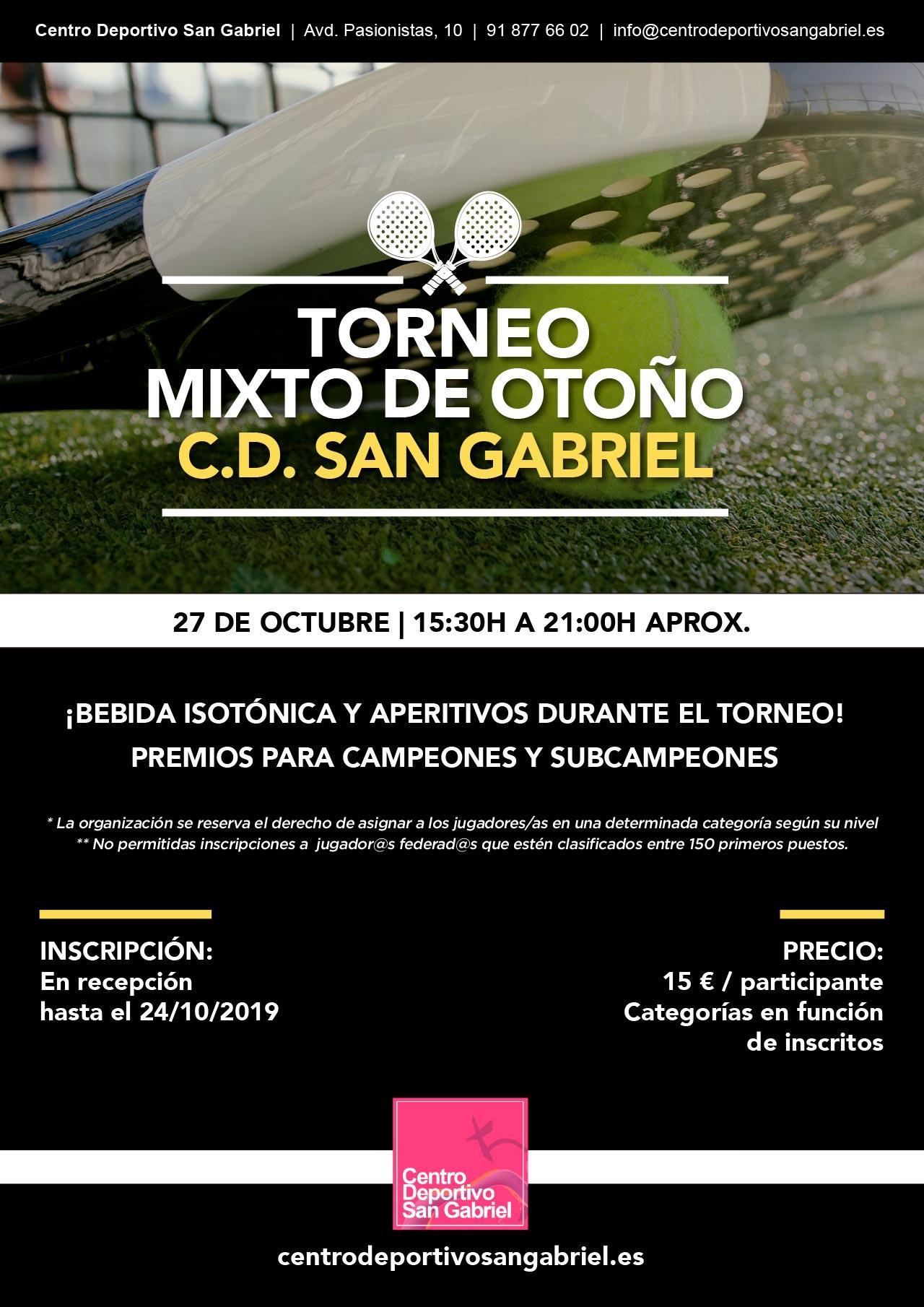 Torneo pádel mixto Otoño en San Gabriel
